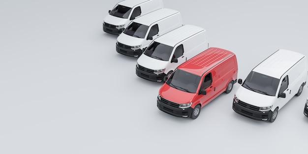 Один красный фургон выделяется из парка белых фургонов. 3d иллюстрирование
