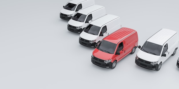 One red van standing out from a fleet of white vans. 3d illutration