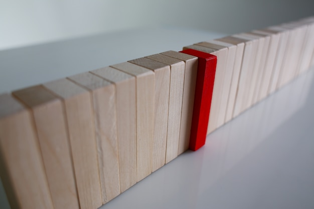 One red winner lottery wood block row