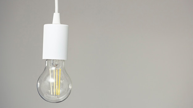 One retro led lamp hanging on the wire