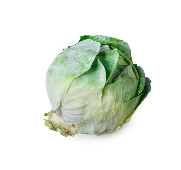 分離された1つの熟した緑のキャベツ。理想的な野菜、健康的な自然有機食品のクローズアップ画像