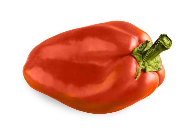 分離された1つの熟したピーマン。緑の新鮮な花柄、健康的な自然有機食品と理想的な唐辛子野菜のクローズアップ画像