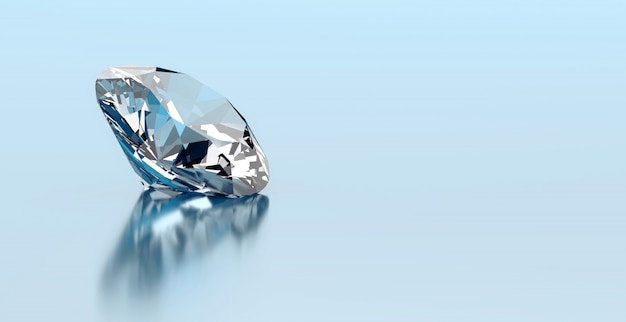 One round diamond placed on reflection background, 3d rendering.