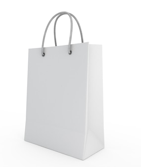 One shopping bag isolated in 3d render image