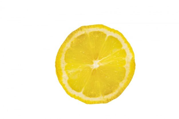 One slice of lemon citrus fruit isolated on white background