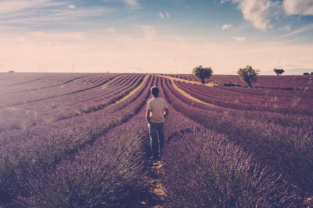 一人の立っている男が彼の周りのラベンダー畑を見てください-屋外の人間と美しい旅行の風光明媚な自然-フランスのプロヴァンスのヴァロンソルの場所-香水と香水の生産事業