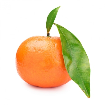 One tangerine with green leaves in a white background. mandarin.