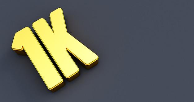 One thousand 1000. 1k gold sign. thank you 1k followers design.3d render