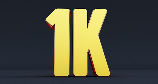 One thousand. 1k red sign. thank you 1k followers design.3d render