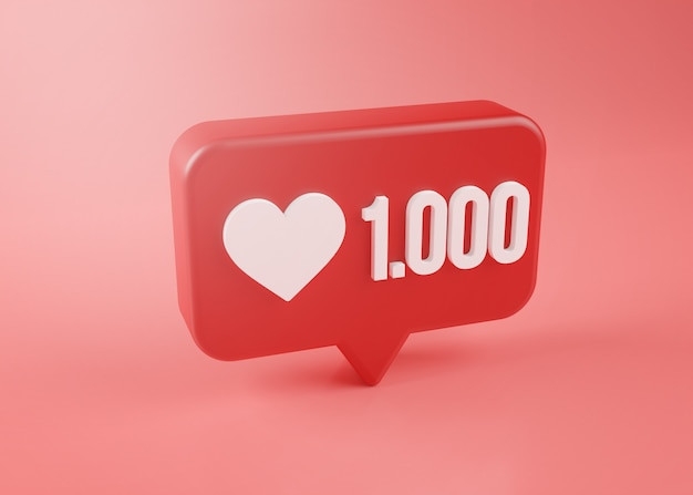One thousand love notification icon 3d rendering on pink background