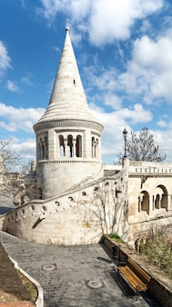 One of the towers of fishermans bastion in budapest