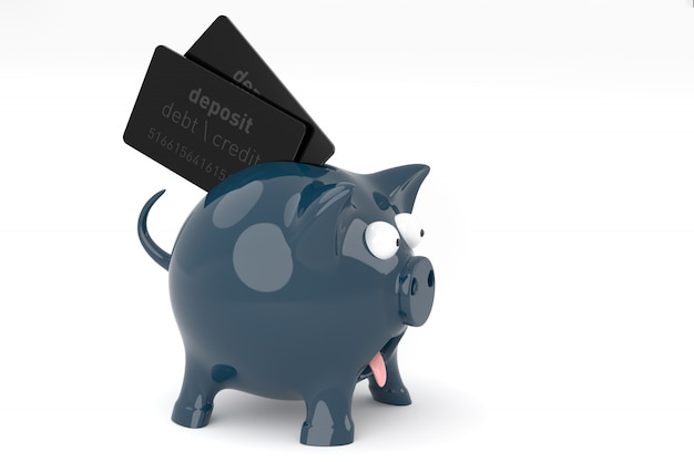 One very surprised black piggy bank with outstretched eyes on white backdrop