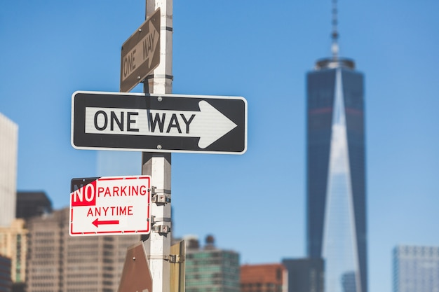 One way road sign in new york