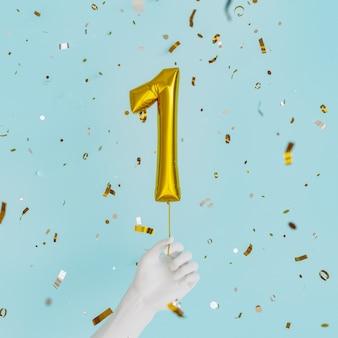 One year birthday golden balloon