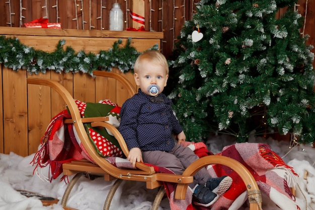 One-year-old child plays on sleigh at merry christmas tree