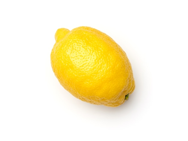 One yellow lemon isolated on white background