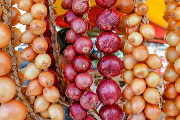Onion bunches in open air market stall