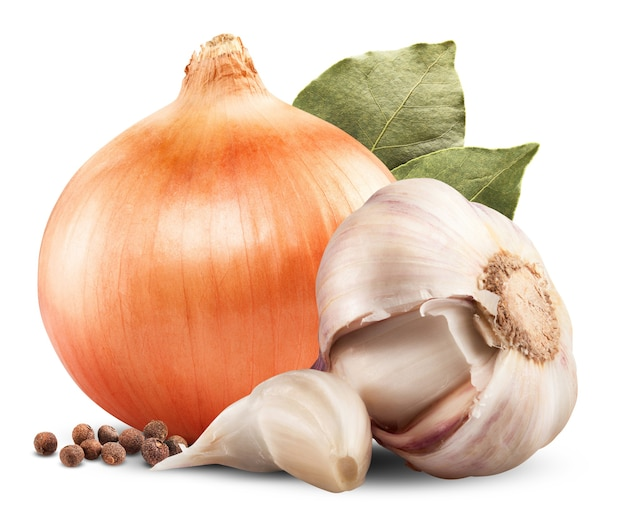 Onion, garlic, pepper and bay leaf isolated on white