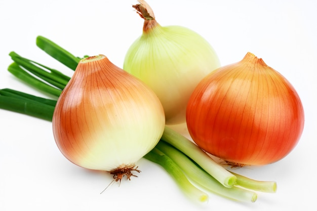 Onion for salad, on a white background.