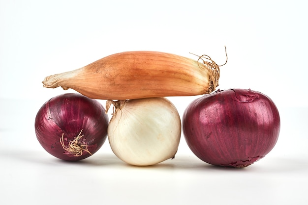 Onions isolated on white.