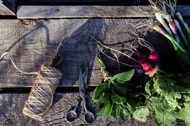 Onions, radish and mint on an old wooden table. food rustic background