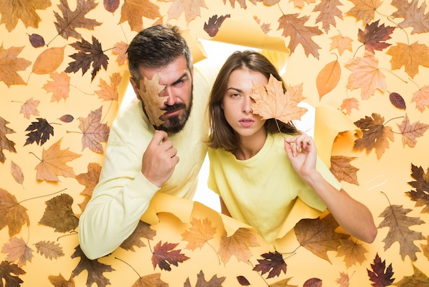 Online advertising. happy loving couple. black friday shopping. autumn sale or black friday. i love you very much. hello autumn and autumn dreams. place for your text.