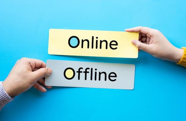 비즈니스 마케팅 개념을위한 온라인 및 오프라인