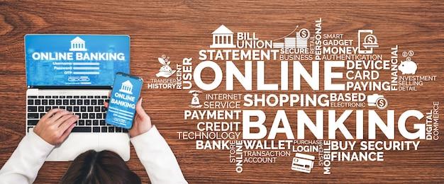 Online banking for digital money technology banner background