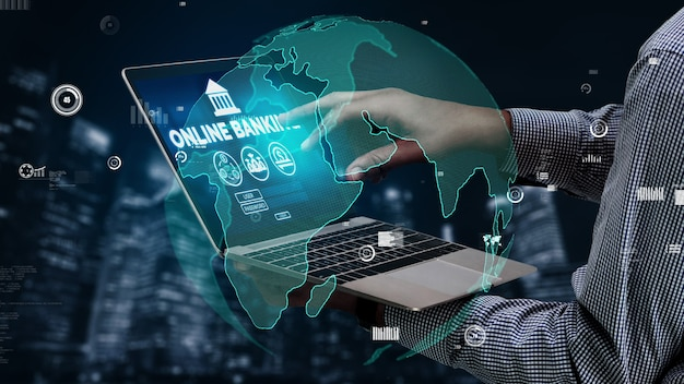 Online banking for digital money technology conceptual