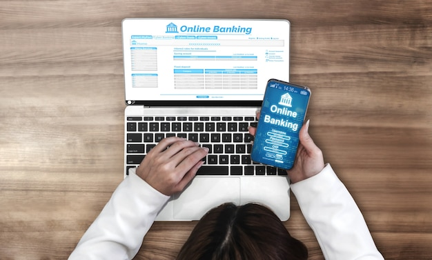 デジタルマネーテクノロジーコンセプトのためのオンラインバンキング。インターネットウェブサイトとデジタル決済サービスでの送金を示すグラフィックインターフェイス。