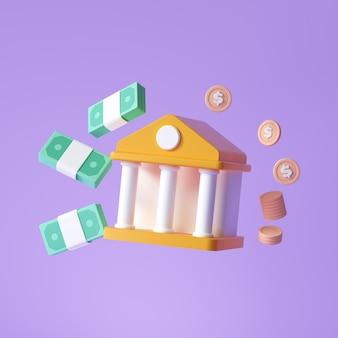 オンラインバンキングのアイコン。お金を節約する、銀行、紫の背景に浮かぶお金とコインの束