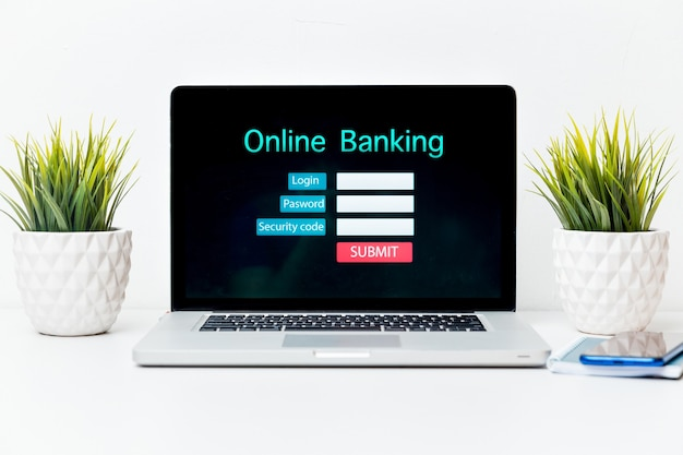 Online banking technology ecommerce commercial concept.
