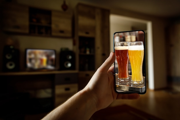 Online bar concept. drinking with friends at home via smartphone or other gadgets.