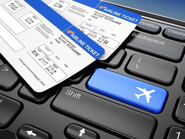 オンライン予約飛行機のチケットラップトップキーボード3d