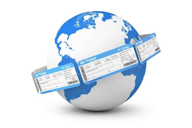 オンライン予約のコンセプト。白い背景の上の地球儀の周りの航空券
