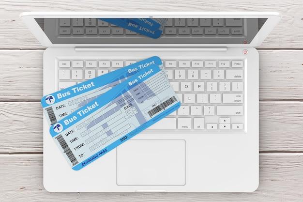온라인 예약 개념입니다. 나무 테이블 극단적인 근접 촬영을 통해 노트북과 버스 티켓입니다. 3d 렌더링