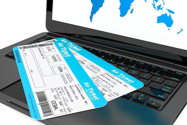 オンライン予約のコンセプト。白い背景の上の航空券とラップトップ