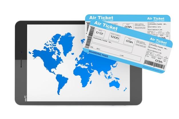 オンライン予約のコンセプト。白い背景の上の航空券とタブレットpc