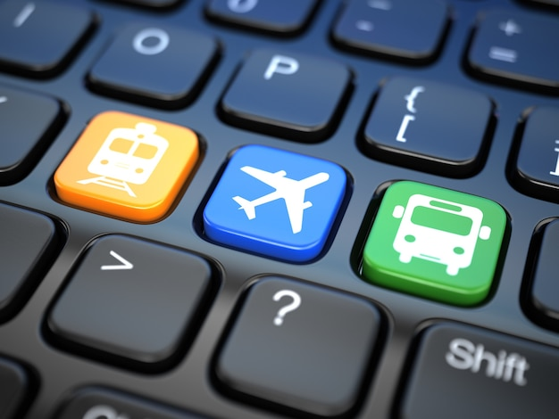 Online booking  tickets to train bus or airplane laptop keyboard 3d