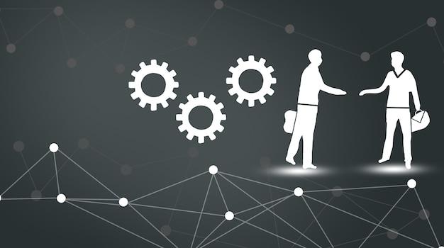 オンラインビジネスの概念。グローバルビジネス契約