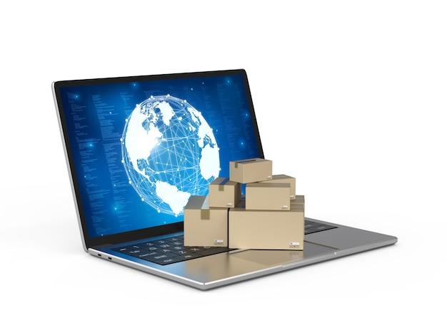 컴퓨터 노트북에 3d 렌더링 판지 상자가 있는 온라인 비즈니스 개념