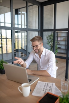 Online business meeting. a man having a conversaion during the working videocall