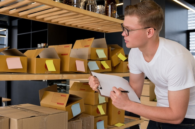 Online business owners are checking orders with documents, online business