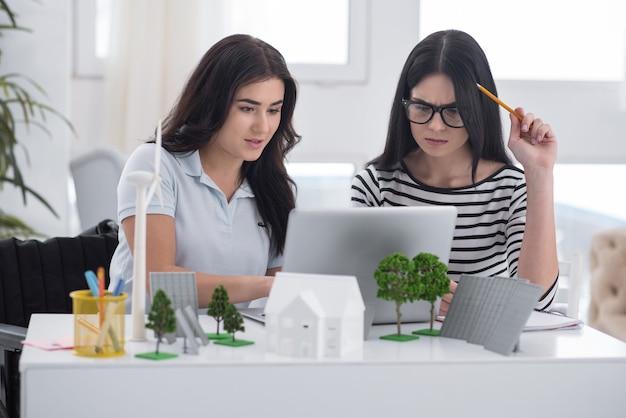 オンライン計算。賢い障害のある女性と同僚がラップトップを使用しながら別の村をモデル化