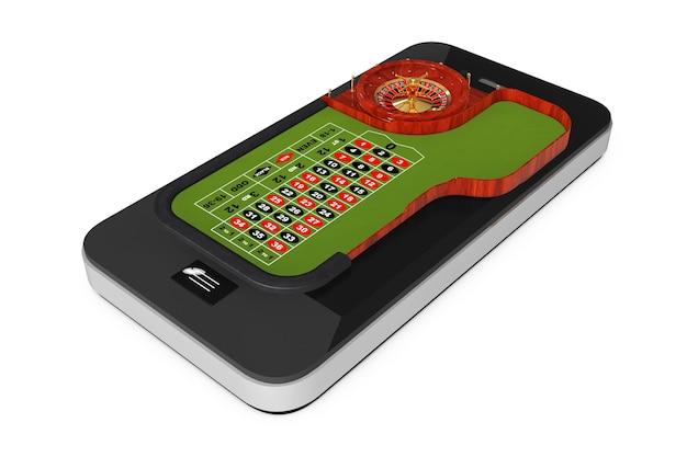 オンラインカジノのコンセプト。白い背景の上の携帯電話上の古典的なカジノルーレットテーブル。 3dレンダリング。