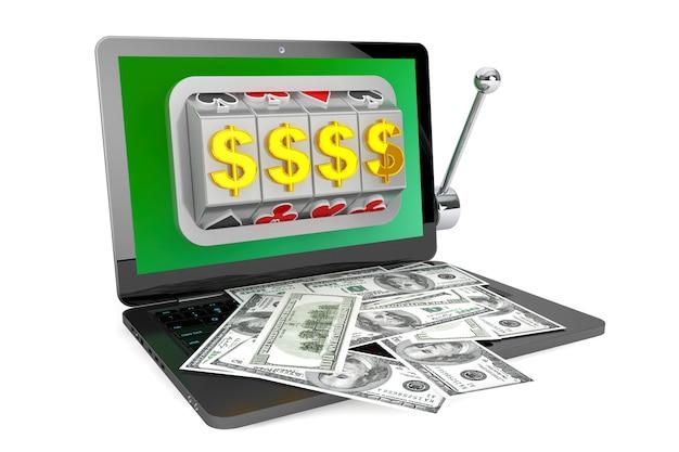 Концепция онлайн-казино. игровой автомат внутри ноутбука с долларами на белом фоне