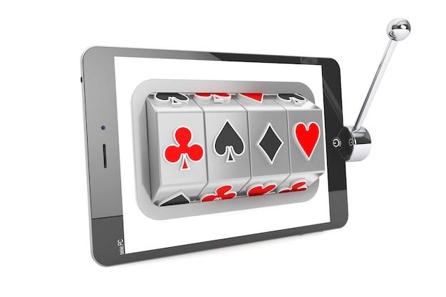 Концепция онлайн-казино. игровой автомат внутри планшетного пк на белом фоне