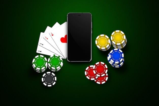 Online casino, mobile casino, mobile phone, chips cards on green
