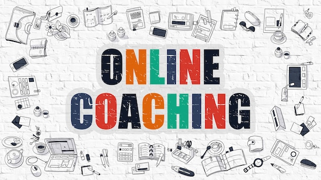 Online coaching concept. modern line style illustration. multicolor online coaching drawn on white brick wall. doodle icons. doodle design style of online coaching concept.