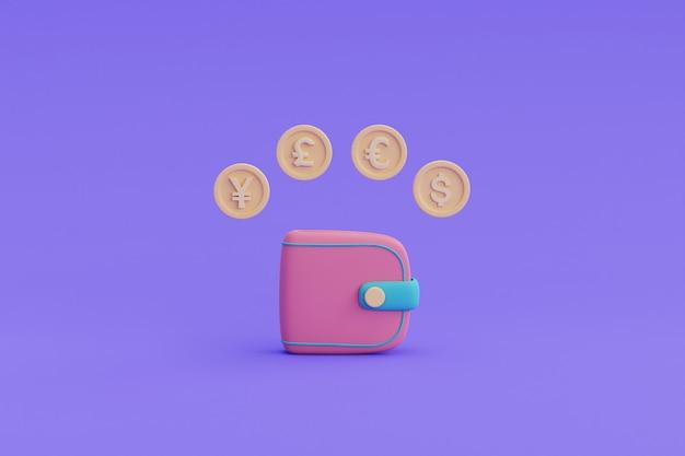 オンライン外貨両替と銀行の概念、ドル、ユーロ、ポンド、円の通貨記号。 3dレンダリングのイラスト。